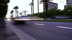 Time lapse of the traffic on Diagonal street at dusk in Barcelona, Spain Stock Footage
