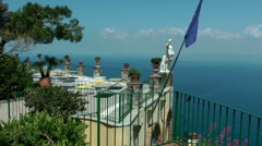 Terrace with sea view of Caesar Augustus hotel, Anacapri Stock Footage