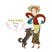 Cheerful elderly woman with funny dog Stock Illustration
