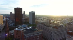 Aerial Sunrise of Buffalo NY Downtown Stock Footage