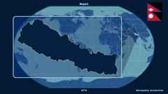 Nepal - 3D tube zoom (Kavrayskiy VII projection). Solids Stock Footage