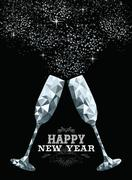 Happy new year toast glass low polygon silver - stock illustration