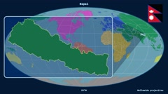 Nepal - 3D tube zoom (Mollweide projection). Continents Stock Footage