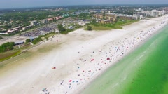 Aerial View of The Stunning Siesta Key Beach - Florida Stock Footage
