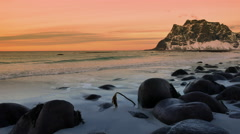 Utakliev beach in the Lofoten archipel Stock Footage