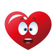 Surprised heart cartoon icon Stock Illustration