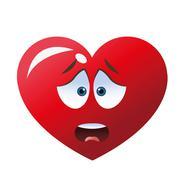 worried heart cartoon icon - stock illustration