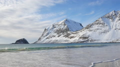 Waves at Haukland beach in the Lofoten archipel Stock Footage
