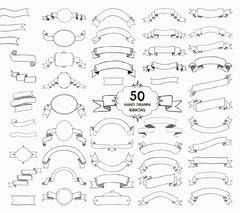 Fifty Vector Black Hand Drawn Ribbons, Banners, Frames Stock Illustration