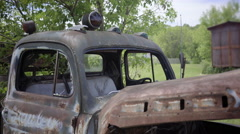 old car vintage with plant rust americana pickup van - stock footage