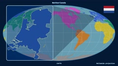 Netherlands - 3D tube zoom (Mollweide projection). Continents Stock Footage