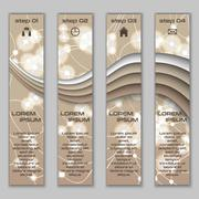 Vector design vertical banner set with abstract glowing elements - stock illustration