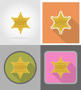Star sheriff wild west flat icons vector illustration Stock Illustration