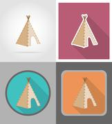 wigwam wild west flat icons vector illustration - stock illustration