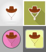Cowboy hat wild west flat icons vector illustration Stock Illustration