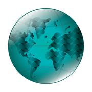 earth globe with latitudes and meridians icon - stock illustration