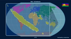 New Caledonia - 3D tube zoom (Kavrayskiy VII projection). Continents Stock Footage