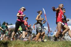 Mass marathon runners in the mountain Stock Photos