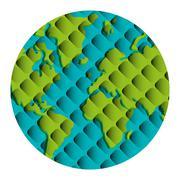 Geometric texture earth globe icon Piirros