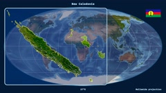 New Caledonia - 3D tube zoom (Mollweide projection). Satellite Stock Footage