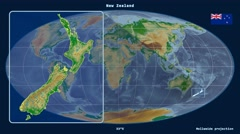 New Zealand - 3D tube zoom (Mollweide projection). Bumps shaded Stock Footage