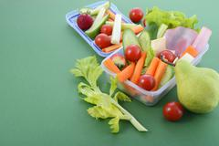 Back to school healthy lunch box. Stock Photos