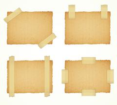 vector cardboard labels attached with a sticky tape - stock illustration
