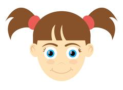 happy girl with pigtails icon - stock illustration