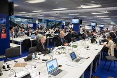 Press center of the NATO summit in Warsaw Stock Photos