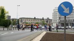 People are walking on zebra crossing Stock Footage