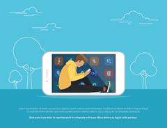 Young guy sitting into the big smartphone outdoors - stock illustration