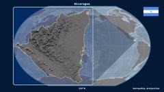 Nicaragua - 3D tube zoom (Kavrayskiy VII projection) - stock footage