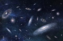 Large-scale structure of Multiple Galaxies in Deep Universe. 3D rendered Digi Stock Illustration