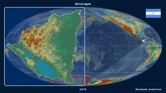 Nicaragua - 3D tube zoom (Mollweide projection). Relief - stock footage