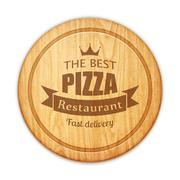 empty round cutting board with pizza restaurant label - stock illustration