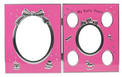 Baby's metal photo frame My first year Stock Photos