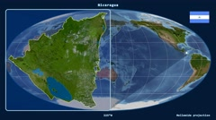 Nicaragua - 3D tube zoom (Mollweide projection). Satellite - stock footage