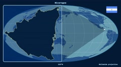 Nicaragua - 3D tube zoom (Mollweide projection). Solids Stock Footage