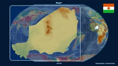 Niger - 3D tube zoom (Kavrayskiy VII projection). Relief Stock Footage