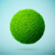 Green grass sphere on a blue clear background - stock illustration