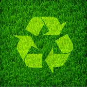 Recycle symbol on a fresh green grass, environmental concept Stock Illustration