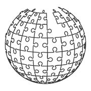 ball in puzzle pieces icon - stock illustration