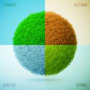 Four seasons collage. Spring, Summer, Autumn, Winter. Grass circle shape. - stock illustration