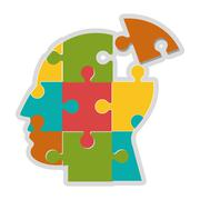 Human head in puzzle pieces icon Stock Illustration
