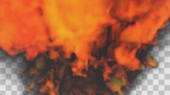 Animated bursting raging fire with thick smoke toward camera. Stock Footage