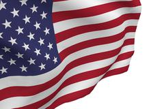 American Flag Blowing on White Background, 3d render. Stock Illustration