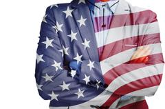 Double Exposure of Businessman with America flag as American Business Hero Stock Photos