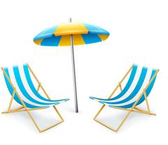 Stripped deck-chair with umbrella beach inventory Stock Illustration