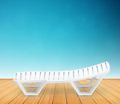 single plastic deck-chair beach inventory on wooden floor - stock illustration
