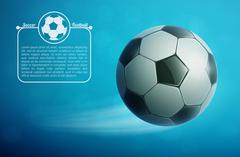 Soccer ball flying in air with grass. Football background. Stock Illustration